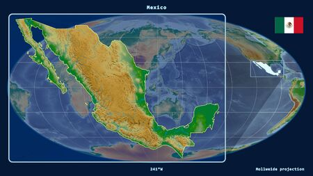 Zoomed-in view of Mexico outline with perspective lines against a global map in the Mollweide projection. Shape on the left side. color physical map
