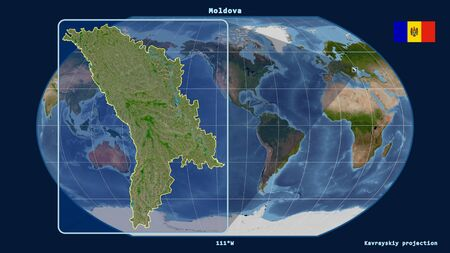 Zoomed-in view of Moldova outline with perspective lines against a global map in the Kavrayskiy projection. Shape on the left side. satellite imagery Stock fotó