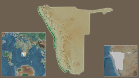 Close-up of Namibia and its location in the region and in the center of a large-scale world map. Color physical map