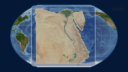 Zoomed-in view of Egypt outline with perspective lines against a global map in the Kavrayskiy projection. Shape centered. satellite imagery Stock fotó