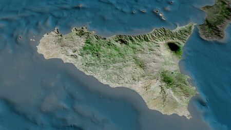 Sicily - autonomous region of Italy zoomed and highlighted. Satellite imagery. 3D rendering