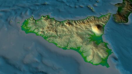 Sicily - autonomous region of Italy zoomed and highlighted. Main physical landscape features. 3D rendering Banque d'images