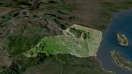 Tanga - region of Tanzania zoomed and highlighted. Satellite imagery. 3D rendering