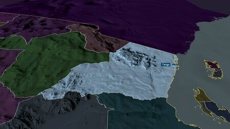 Tanga - region of Tanzania zoomed and highlighted with capital. Colored and bumped map of the administrative division. 3D rendering