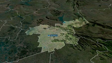Saraburi - province of Thailand zoomed and highlighted with capital. Satellite imagery. 3D rendering
