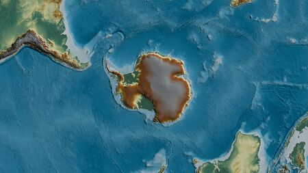 Relief map of the area around the Antarctic tectonic plate. 3D rendering 写真素材