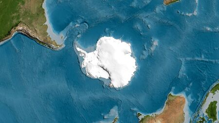 Satellite map of the area around the Antarctic tectonic plate. 3D rendering