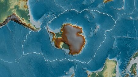 Outline of the Antarctic tectonic plate with the borders of surrounding plates against the background of a relief map. 3D rendering 写真素材