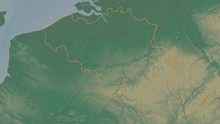 Outlined shape of the Belgium area. Topographic relief map with surface waters. 3D rendering