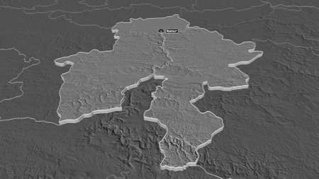 Zoom in on Namur (province of Belgium) extruded. Oblique perspective. Bilevel elevation map with surface waters. 3D rendering