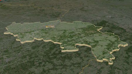 Zoom in on Liège (province of Belgium) extruded. Oblique perspective. Satellite imagery. 3D rendering