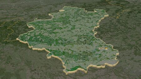Zoom in on Luxembourg (province of Belgium) extruded. Oblique perspective. Satellite imagery. 3D rendering