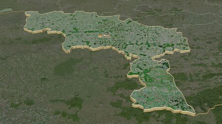 Zoom in on Hainaut (province of Belgium) extruded. Oblique perspective. Satellite imagery. 3D rendering