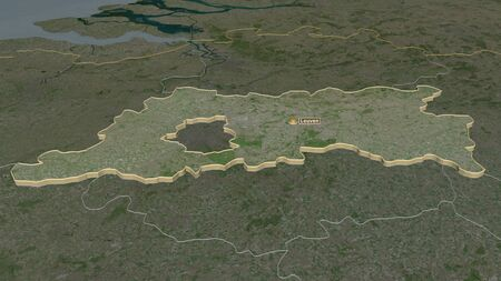 Zoom in on Vlaams Brabant (province of Belgium) extruded. Oblique perspective. Satellite imagery. 3D rendering