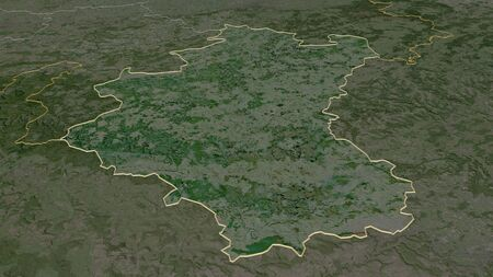 Zoom in on Luxembourg (province of Belgium) outlined. Oblique perspective. Satellite imagery. 3D rendering 写真素材