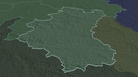 Zoom in on Luxembourg (province of Belgium) outlined. Oblique perspective. Colored and bumped map of the administrative division with surface waters. 3D rendering