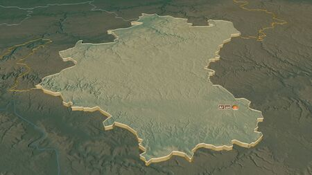Zoom in on Luxembourg (province of Belgium) extruded. Oblique perspective. Topographic relief map with surface waters. 3D rendering