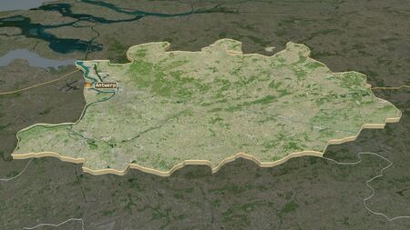 Zoom in on Antwerpen (province of Belgium) extruded. Oblique perspective. Satellite imagery. 3D rendering