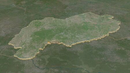Zoom in on Mbomou (prefecture of Central African Republic) extruded. Oblique perspective. Satellite imagery. 3D rendering