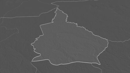 Zoom in on Nana-Grébizi (economic prefecture of Central African Republic) outlined. Oblique perspective. Bilevel elevation map with surface waters. 3D rendering