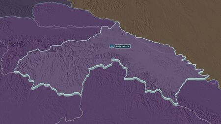 Zoom in on Koprivni�ko-Križeva�ka (county of Croatia) extruded. Oblique perspective. Colored and bumped map of the administrative division with surface waters. 3D rendering