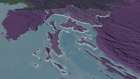 Zoom in on Primorsko-Goranska (county of Croatia) extruded. Oblique perspective. Colored and bumped map of the administrative division with surface waters. 3D rendering