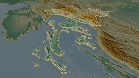 Zoom in on Primorsko-Goranska (county of Croatia) extruded. Oblique perspective. Topographic relief map with surface waters. 3D rendering