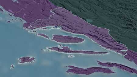 Zoom in on Splitsko-Dalmatinska (county of Croatia) extruded. Oblique perspective. Colored and bumped map of the administrative division with surface waters. 3D rendering Standard-Bild