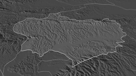 Zoom in on Krapinsko-Zagorska (county of Croatia) outlined. Oblique perspective. Bilevel elevation map with surface waters. 3D rendering
