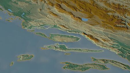 Zoom in on Splitsko-Dalmatinska (county of Croatia) outlined. Oblique perspective. Topographic relief map with surface waters. 3D rendering