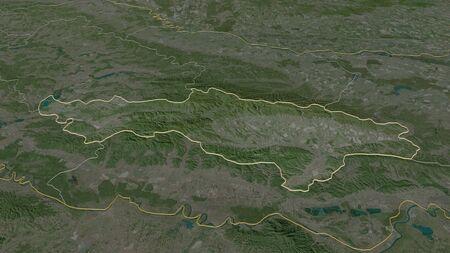 Zoom in on Požeško-Slavonska (county of Croatia) outlined. Oblique perspective. Satellite imagery. 3D rendering Standard-Bild