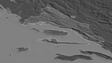Zoom in on Splitsko-Dalmatinska (county of Croatia) outlined. Oblique perspective. Bilevel elevation map with surface waters. 3D rendering