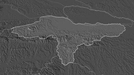 Zoom in on Varaždinska (county of Croatia) outlined. Oblique perspective. Bilevel elevation map with surface waters. 3D rendering Standard-Bild