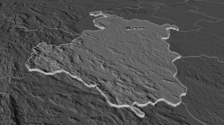 Zoom in on Karlovacka (county of Croatia) extruded. Oblique perspective. Bilevel elevation map with surface waters. 3D rendering