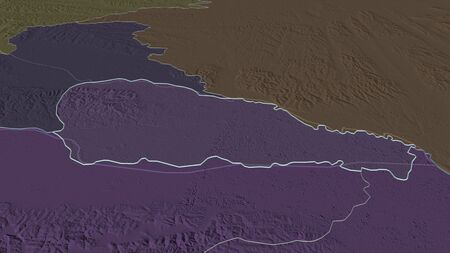 Zoom in on Medimurska (county of Croatia) outlined. Oblique perspective. Colored and bumped map of the administrative division with surface waters. 3D rendering Standard-Bild