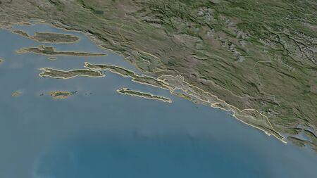 Zoom in on Dubrovacko-Neretvanska (county of Croatia) outlined. Oblique perspective. Satellite imagery. 3D rendering Standard-Bild
