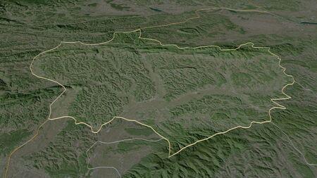 Zoom in on Krapinsko-Zagorska (county of Croatia) outlined. Oblique perspective. Satellite imagery. 3D rendering Standard-Bild
