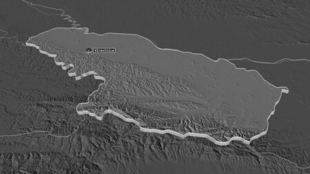 Zoom in on Viroviticko-Podravska (county of Croatia) extruded. Oblique perspective. Bilevel elevation map with surface waters. 3D rendering