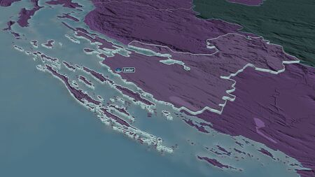 Zoom in on Zadarska (county of Croatia) extruded. Oblique perspective. Colored and bumped map of the administrative division with surface waters. 3D rendering Standard-Bild