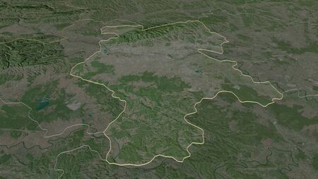 Zoom in on Grad Zagreb (city of Croatia) outlined. Oblique perspective. Satellite imagery. 3D rendering Standard-Bild