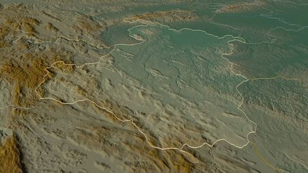 Zoom in on Karlovacka (county of Croatia) outlined. Oblique perspective. Topographic relief map with surface waters. 3D rendering