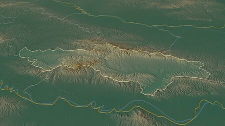 Zoom in on Požeško-Slavonska (county of Croatia) outlined. Oblique perspective. Topographic relief map with surface waters. 3D rendering