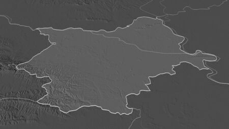 Zoom in on Osjecko-Baranjska (county of Croatia) outlined. Oblique perspective. Bilevel elevation map with surface waters. 3D rendering