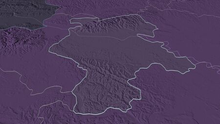 Zoom in on Grad Zagreb (city of Croatia) outlined. Oblique perspective. Colored and bumped map of the administrative division with surface waters. 3D rendering