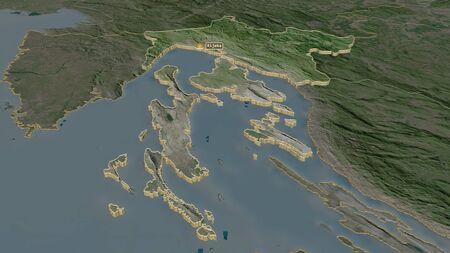Zoom in on Primorsko-Goranska (county of Croatia) extruded. Oblique perspective. Satellite imagery. 3D rendering Standard-Bild