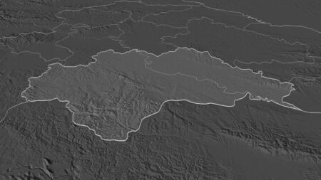 Zoom in on Sisacko-Moslavacka (county of Croatia) outlined. Oblique perspective. Bilevel elevation map with surface waters. 3D rendering