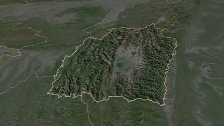 Zoom in on Manipur (state of India) outlined. Oblique perspective. Satellite imagery. 3D rendering Stock Photo