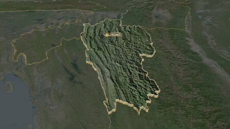 Zoom in on Mizoram (state of India) extruded. Oblique perspective. Satellite imagery. 3D rendering