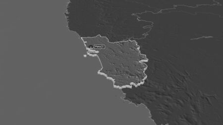 Zoom in on Goa (state of India) extruded. Oblique perspective. Bilevel elevation map with surface waters. 3D rendering