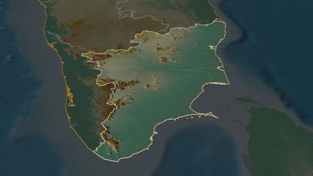 Zoom in on Tamil Nadu (state of India) outlined. Oblique perspective. Topographic relief map with surface waters. 3D rendering Stock Photo